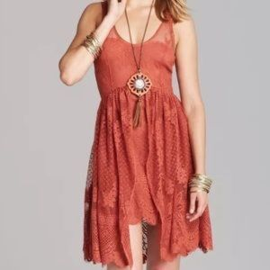 Free People Terra-cotta Lace Krystal Dress